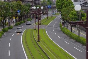 市電の軌道緑化(鹿児島市)